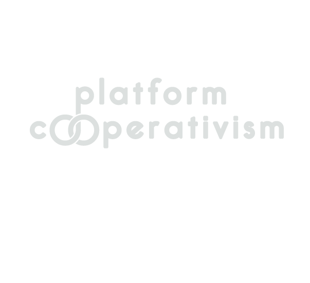 platform cooperativism logo. all lowercase with the second and third letters of the second word—both the letter O—intertwined, forming a shape similar to the symbol of initity.